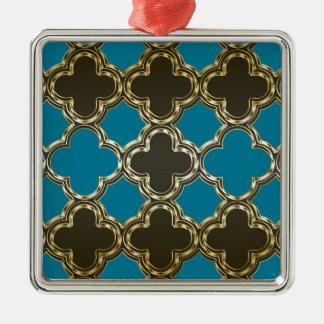 Marockansk Quatrefoil metallisk guld- blåttdesign Silverfärgad Fyrkantigt Julgransprydnad