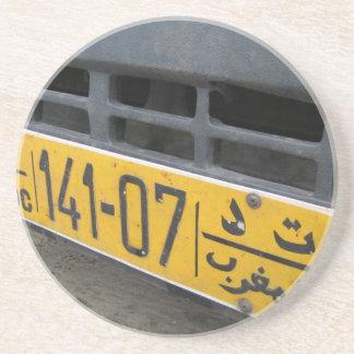Marockansk registreringsskylt underlägg sandsten