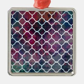 Marockansk stil för rosa Grunge Silverfärgad Fyrkantigt Julgransprydnad