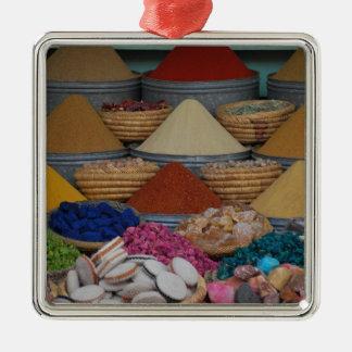 Marockanska kryddor silverfärgad fyrkantigt julgransprydnad
