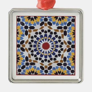 Marockanskt belägga med tegel silverfärgad fyrkantigt julgransprydnad