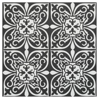 Marockanskt belägga med tegel - vit med svart tyg