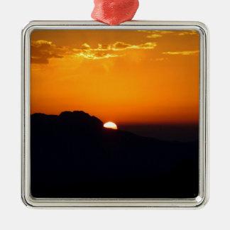 Marockanskt glöd för solnedgång silverfärgad fyrkantigt julgransprydnad
