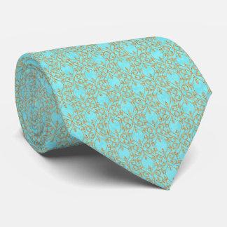 Marockanskt guld för aqua för tryckkrusidullturkos slips