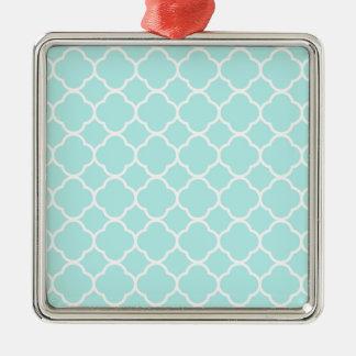 Marockanskt mönster för Aquablått Silverfärgad Fyrkantigt Julgransprydnad