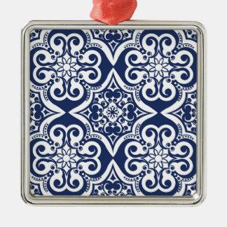 Marockanskt mönster för blått och för vit julgransprydnad metall