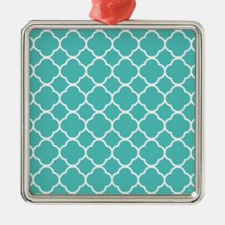 Marockanskt mönster för turkos silverfärgad fyrkantigt julgransprydnad