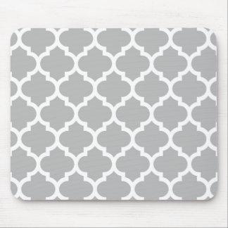 Marockanskt Quatrefoil för grå vit mönster #5 Mus Matta