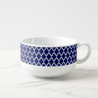 Marockanskt Quatrefoil för marinblå vit mönster #4 Soppmugg