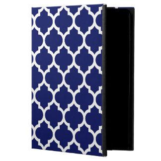 Marockanskt Quatrefoil för marinblå vit mönster #5 Fodral För iPad Air