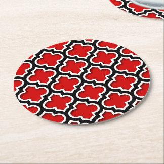 Marockanskt Quatrefoil för röd svart vit mönster Underlägg Papper Rund