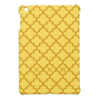 Marockanskt senapsgult belägger med tegel monogram iPad mini skydd
