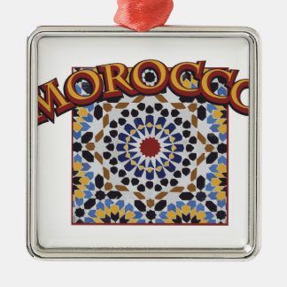 Marocko belägger med tegel silverfärgad fyrkantigt julgransprydnad