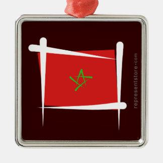 Marocko borstar flagga silverfärgad fyrkantigt julgransprydnad