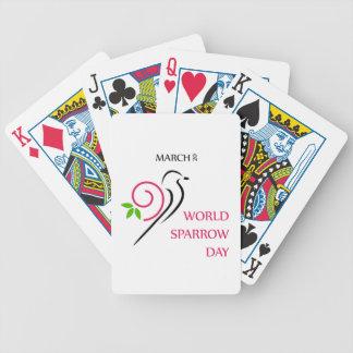 Mars 20 för världssparrowdag spelkort
