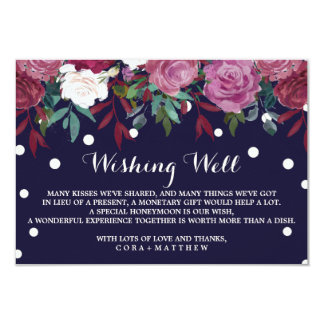 Marsala blommigt på marinblått bröllop som väl 8,9 x 12,7 cm inbjudningskort