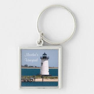 Marthas torsk Massachusetts Keychain för Fyrkantig Silverfärgad Nyckelring