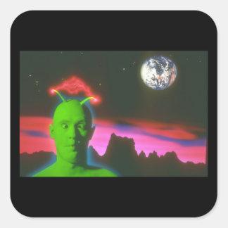 Martian. (martian; planet_Spaceplatser Fyrkantigt Klistermärke