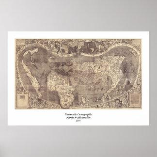 Martin Waldseemuller världskarta 1507 Poster