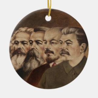 Marx, Engels, Lenin och Stalin Rund Julgransprydnad I Keramik