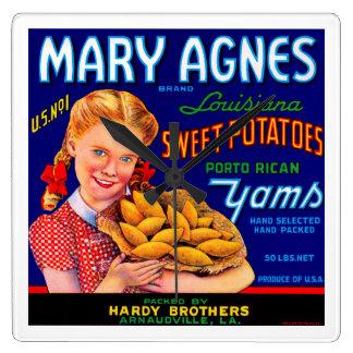 Mary Agnes Louisiana sötpotatisar Fyrkantig Klocka