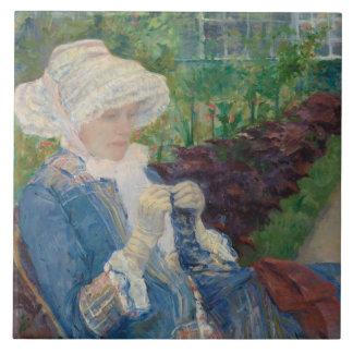 Mary Cassat- Lydia som virkar i trädgården Kakelplatta