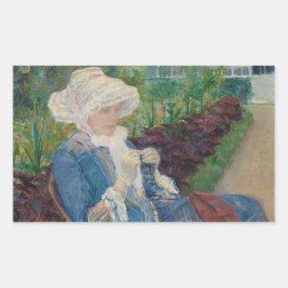 Mary Cassat- Lydia som virkar i trädgården Rektangulärt Klistermärke