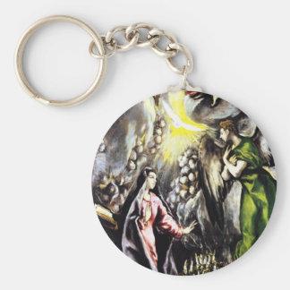 Mary för Annunciation för El Greco jungfrulig Rund Nyckelring