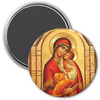 Mary Gud-Bärare Magnet Rund 7.6 Cm