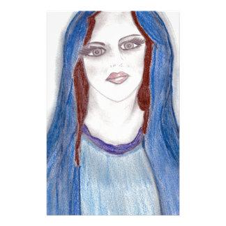 Mary i blått brevpapper