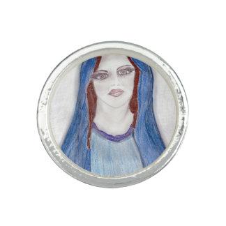 Mary i blått fotoringar