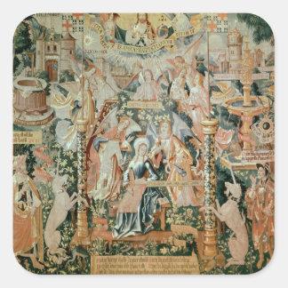 Mary i tempelet, platser från liv av fyrkantigt klistermärke
