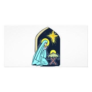Mary och baby Jesus Fotokort