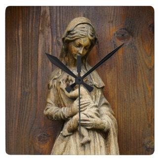 Mary och baby Jesus Fyrkantig Klocka