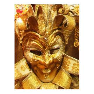Maskerar den guld- gyckelmakaren för karnevalet vykort