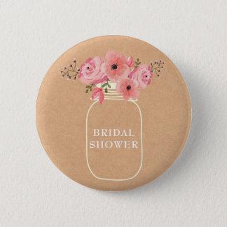 Masonburk & ljus för möhippa | lantlig blom- standard knapp rund 5.7 cm