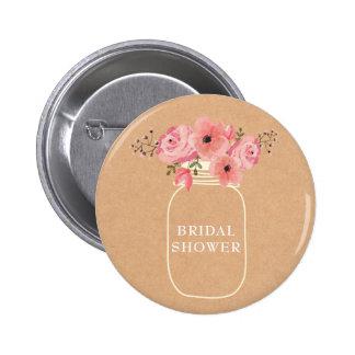 Masonburk & ljus för möhippa   lantlig blom- standard knapp rund 5.7 cm
