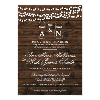 Masonburken stränger ljus bröllopinbjudan 12,7 x 17,8 cm inbjudningskort