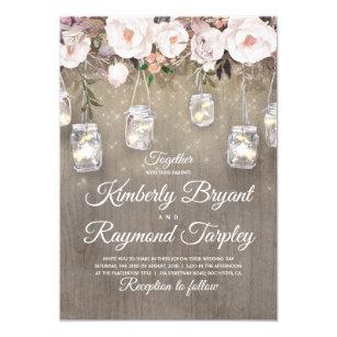 72ad2c90c423 Masonburken tänder blom- lantligt bröllop 12,7 x 17,8 cm inbjudningskort