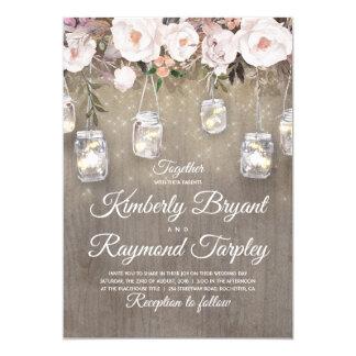 Masonburken tänder blom- lantligt bröllop 12,7 x 17,8 cm inbjudningskort