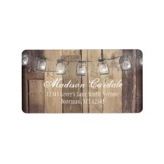 Masonburken tänder Wood bröllopadressetiketter för Adressetikett
