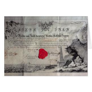 Masonic certifikat, 1785 hälsningskort