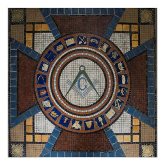 Masonic golv belagd med tegel mosaik poster