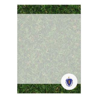 Massachusetts flagga på gräs 12,7 x 17,8 cm inbjudningskort