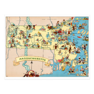 Massachusetts rolig vintagekarta vykort