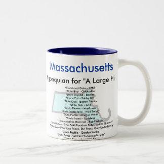 Massachusetts symboler & karta Två-Tonad mugg
