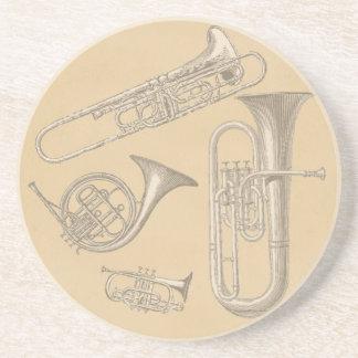 Mässing instrumenterar vintageteckningar underlägg
