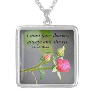 Måste ha blommarohänget silverpläterat halsband