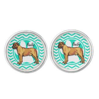 Mastiff; Grön sparre för Aqua Manschettknappar