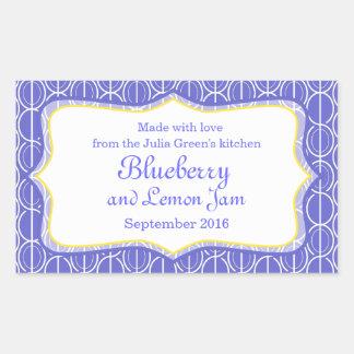 Mat för blåbär- och citronsyltblått märker retangel klistermärken